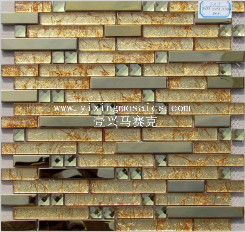 GM-19 golden glass mosaic mix metal mosaic for wall decor