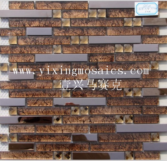 GM20 Glass edge strip mix stainless steel metal mosaic wall tiles