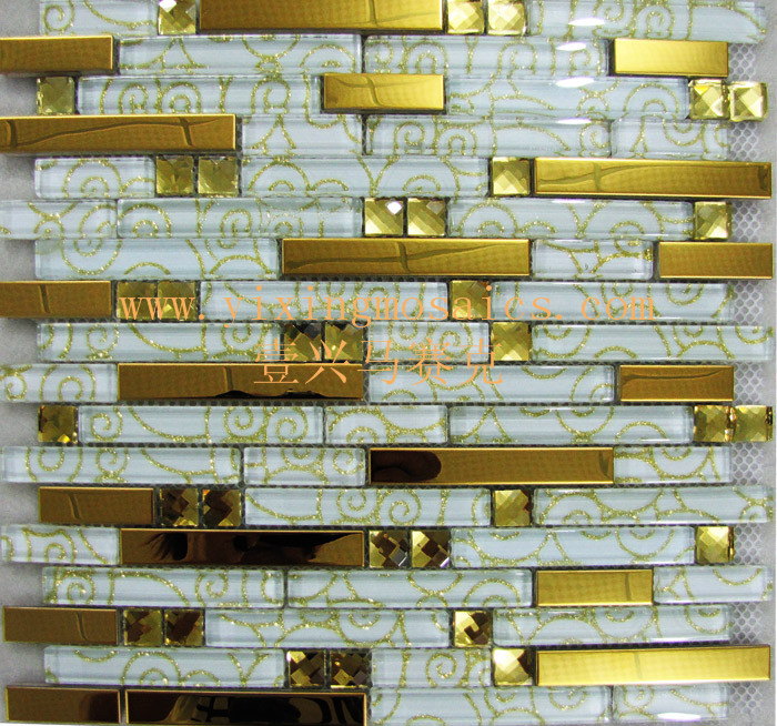 golden and white strip glass mosaic tiles mix metal mosaic tiles for wall decoration GM-126