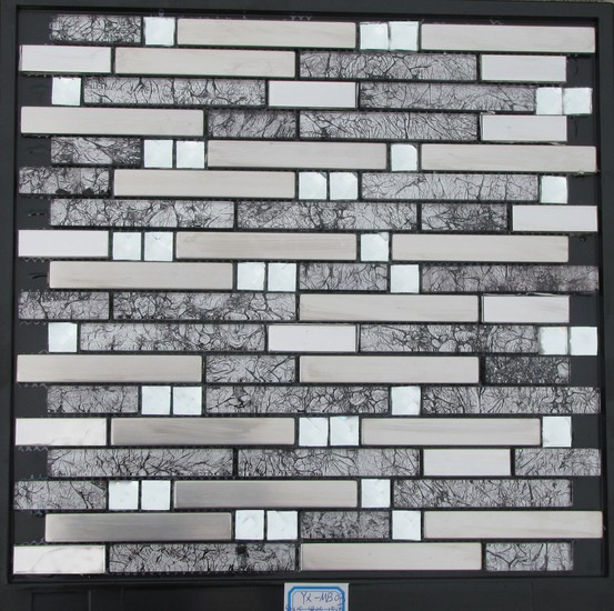 back and white strip glass mosaic tiles mix metal mosaic tiles for wall decoration GM-127