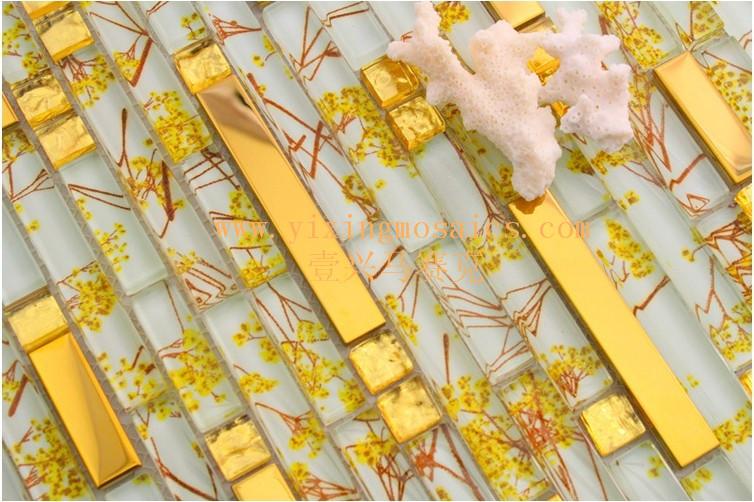 gold yellow and white strip glass mosaic tiles mix metal mosaic ...