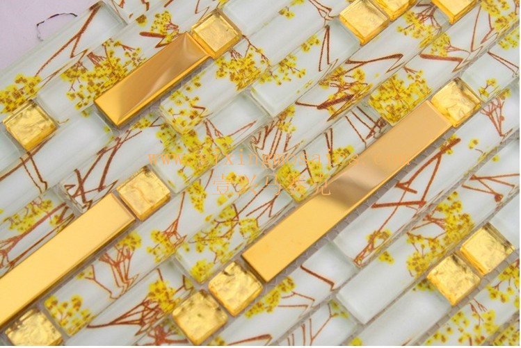 gold yellow and white strip glass mosaic tiles mix metal mosaic tiles for wall decoration Gtiles mix metal mosaic tiles for wall decoration GM-103back and white strip glass mosaic tiles mix metal mosa