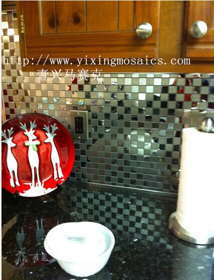 square brush metallic mosaic tile for kitchen ,bathroom wall decoration ms-03
