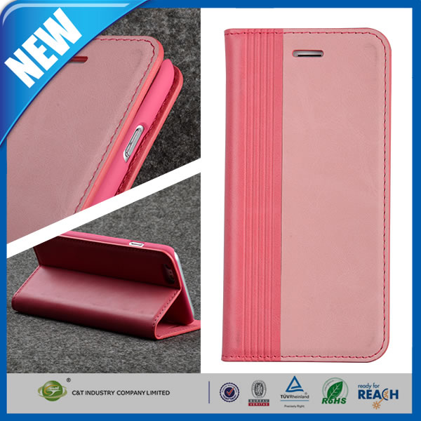 C&T Dual Color PU Leather Flip Pouch Wallet Stand Hard Skin Case for Apple iPhone 6 4.7 inch