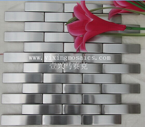 MI35 Silver brushed brick camber stainless steel metal mosaic tile for living room tv background wall design