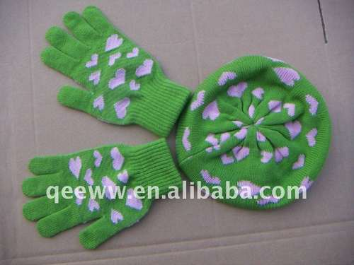 Jacquard Children Hat And Gloves