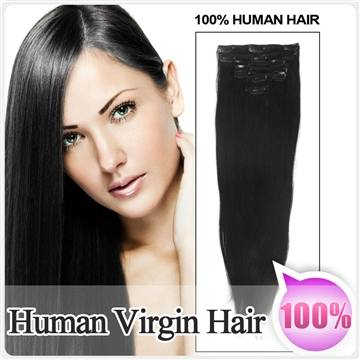 1# 7pcs/70g Clip in 100% Brazilian Human Hair