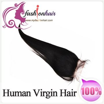 100% 4x4 Free Part Virgin Brazilian Human Hair Lace Closure Silk Straight 10-20