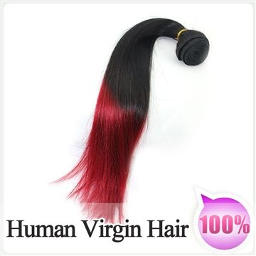1pc 100% Virgin Human Red Ombre Hair Silky Straight Weft