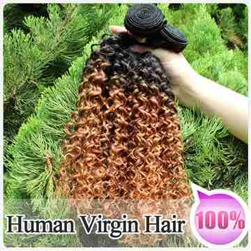 100% Virgin Human Ombre Hair Weave Kinky Curly Weft