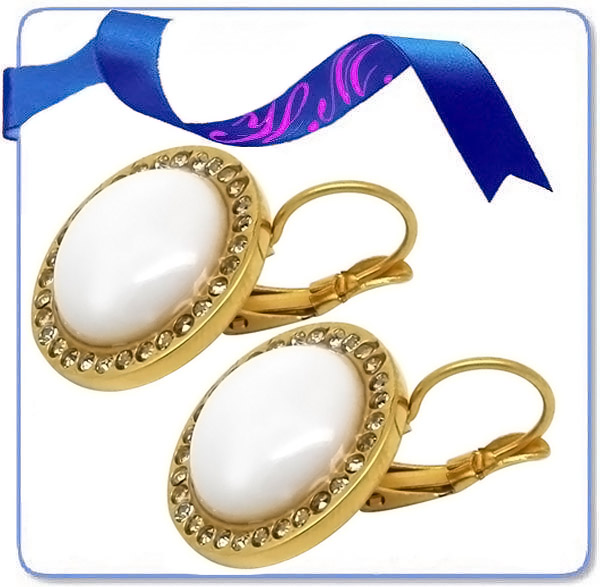 diamond crystal fashion gold pearl earring