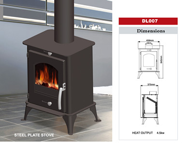 Wood burning stove / steel sheet stove DL007