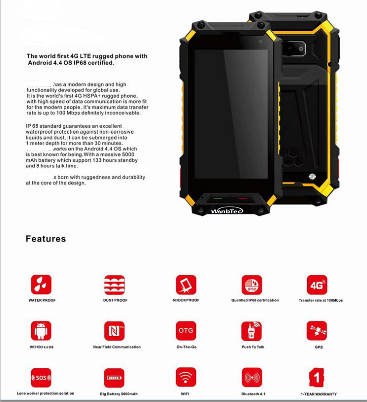 4g rugged phone 4g phone 4.5inch rugged phone