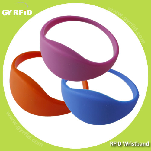 Mifare 1K Silicon Wrist strap (New shape bracelets) is water proof, used in water park, bath spot, Gym (GYRFID)