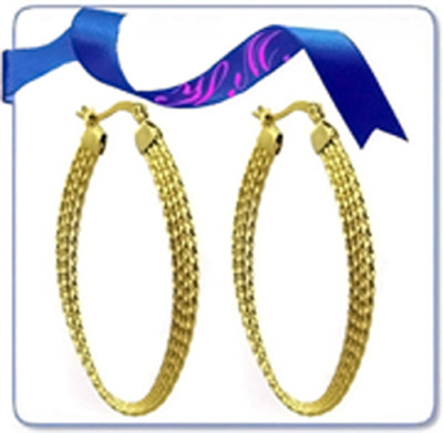 cross hoop huggie double fashion gold earring