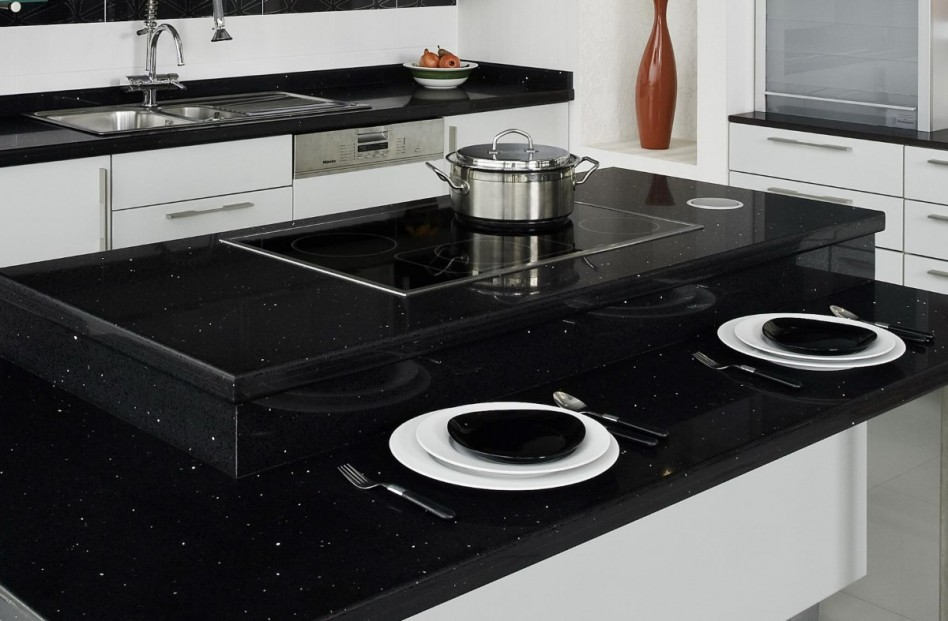 crystal black quartz kitchen countertop