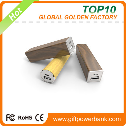 Real capacity mobile portable walnut Power Bank 2600mah