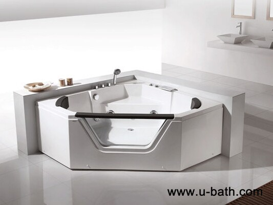 U-BATH 2 persons Corner whirlpool bathtub, Luxury pure acrylic massage bathtub
