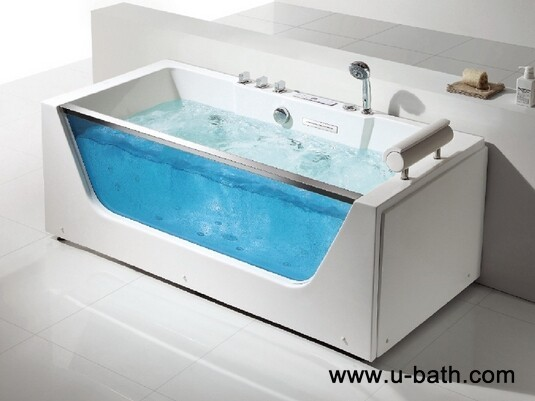 U-BATH One Person Whirlpool Bathtub and Jacuzzi with glass skirt in front