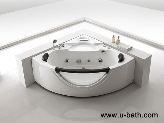 U-BATH Two person portable Corner whirlpool bathtub, indoor spa bath