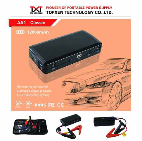 12v gasoline and diesel car Multi function jump starter AA1 12000mAh