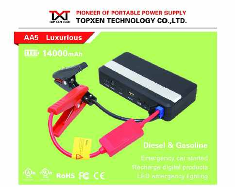 gasoline and diesel car Multi function jump starter AA5 17000mAh