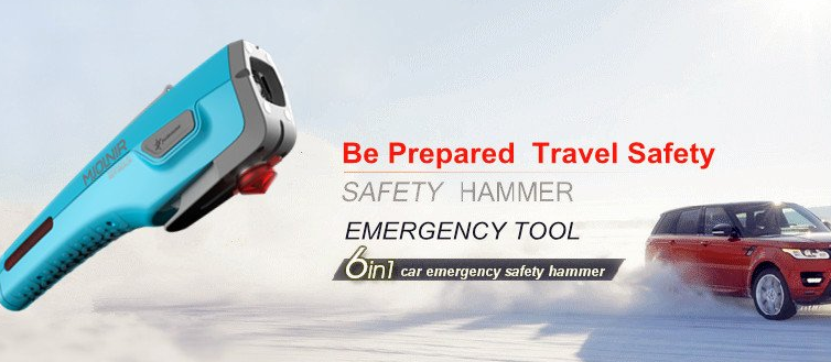 multifunctional car emergency safety hammer with belt cutter, LED light, warning light, charger, magnets, power generator
