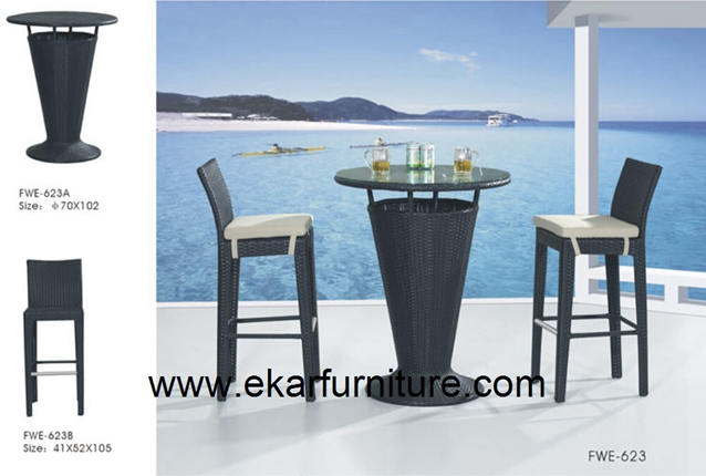 Garden table plastic rattan furniture with cushion FWE-623