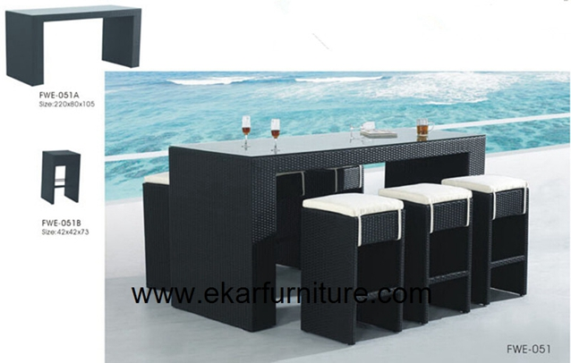 Garden table garden chair plastic rattan furniture FWE-051