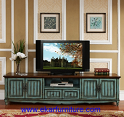 Big TV Stands Living Room table TV Cabinets modern antique lake blue cabinets JY-0954