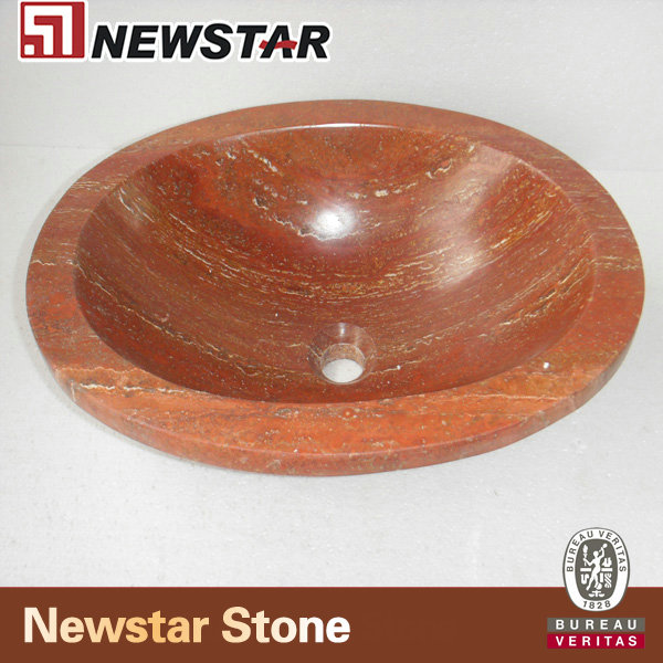 NMJT104-Red- Travertine-Oval-Bowl
