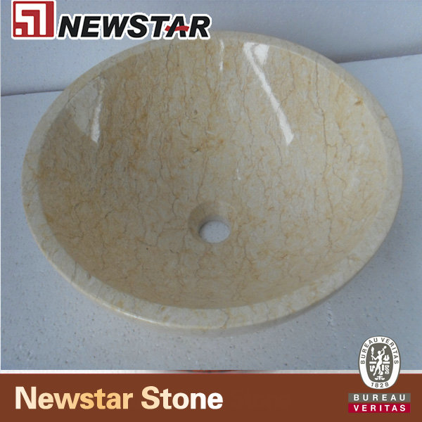NMJ016-Honey- Beige-Marble-Round-Sink