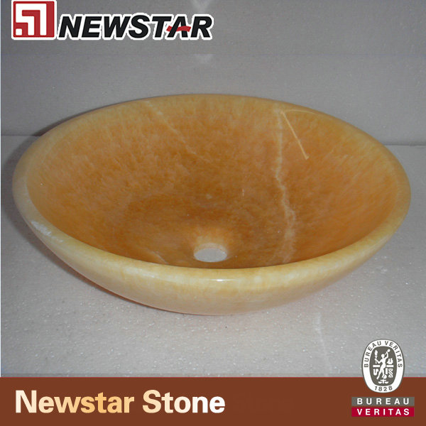 NM081-Resin- Yellow-Marble-Roung-Sink