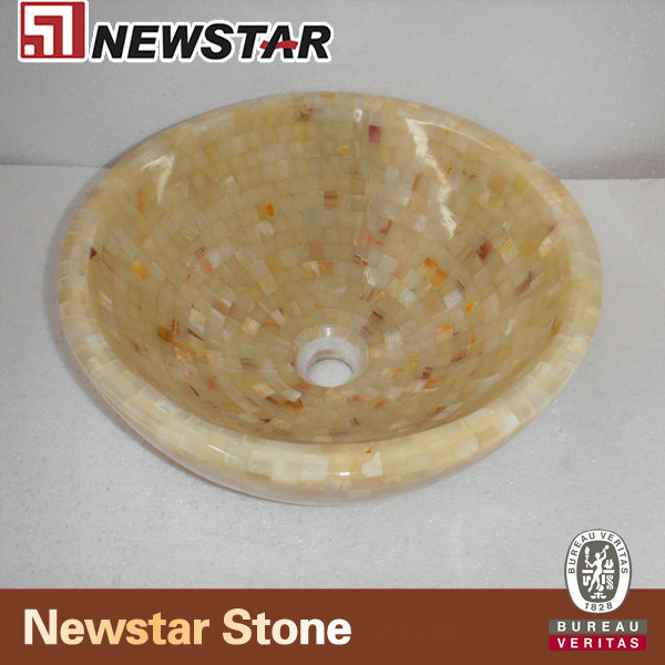 NSNOY007-Light-Green-Onyx-Mosaic-Round-Sink