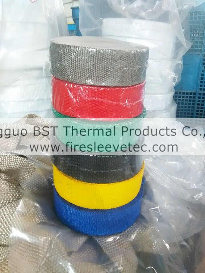 red fiberglass exhaust wrap