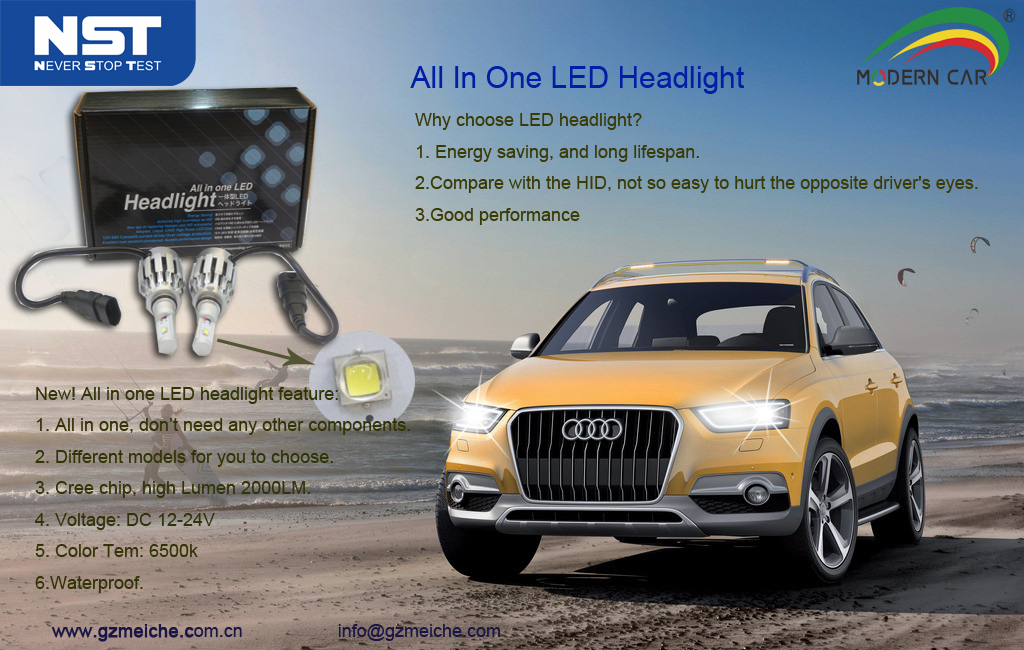 China auto mobile led driving light 3pcs led chips all in one LED headlight