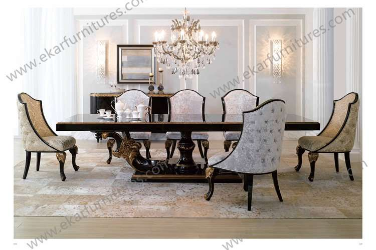 Large dining set for sale, Carved solid wood dining table 6 chairs set