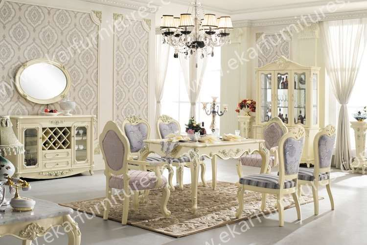 Dining Table Set Classic White Italian, Dining Table 6 Chairs In White
