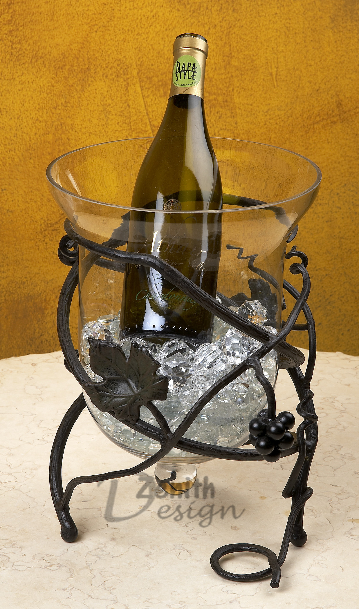 Iron Wine Bottle Cooler Table Vineyard