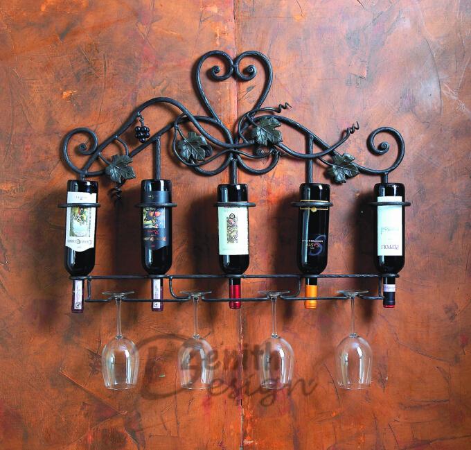 Home Decoration Wall Wine Rack Vineyard 5 Bottle Red Wine Holder ...