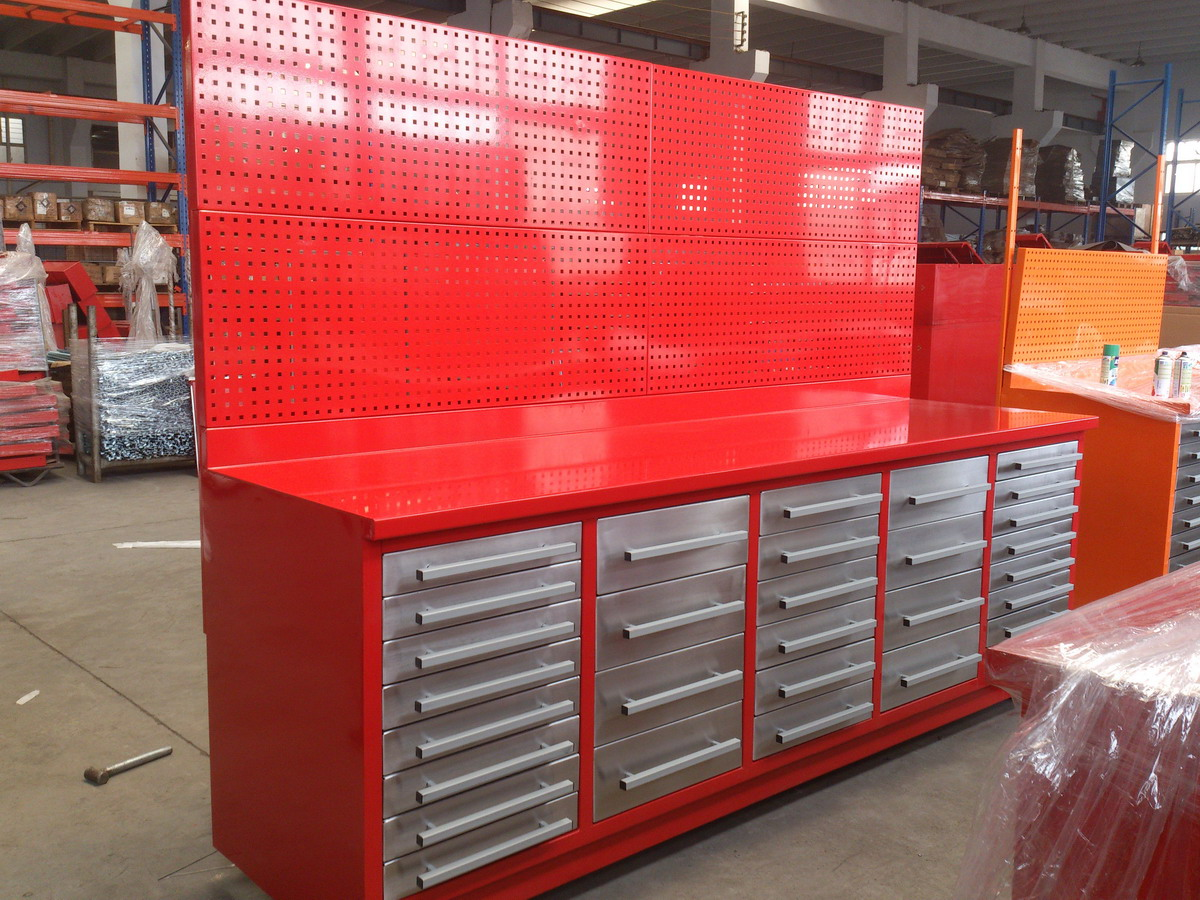 2015 Hot Sale Industrial Steel Work Bench with hanging plate