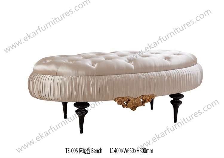 Bed stool antique bed bench upholstery cushion carved leg in beigge color TE-005