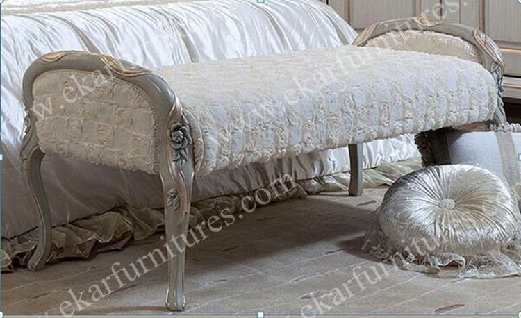 Hand Carved Classical Luxury Bed Foot Stool