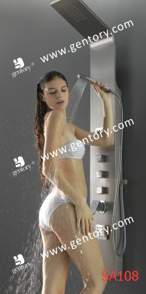 cUPC Stainless Steel Matt Finish Massage Shower Panel with Ultra Thin Shower Jet SA108