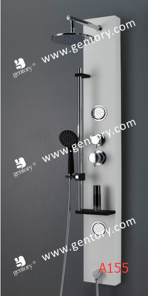 Aluminum Alloy White Painted Massage Shower Panel with Movable Hand Shower Holder A155