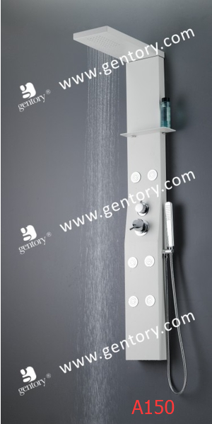Aluminum Alloy White Painted Massage Shower Panel with Shampoo Shelf A150
