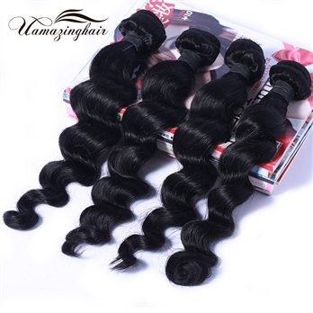 Free Shipping Grade 7A Brazilian Loose Wave Virgin Hair Unprocessed 4 Bundles/400g Lot