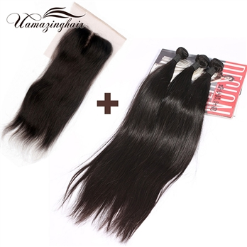 Indian virgin hair 3 bundles Silk Straight with 3.5*4 Free part lace top closure