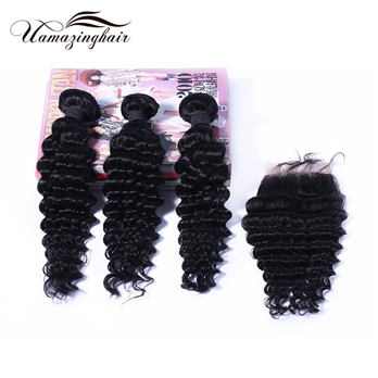 Indian virgin hair 3 bundles Deep Wave with 3.5*4 Free part lace top closure