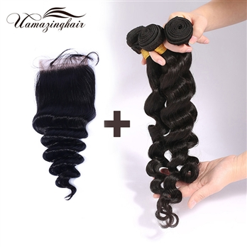 Indian virgin hair 3 bundles Loose Wave with 3.5*4 Free part lace top closure